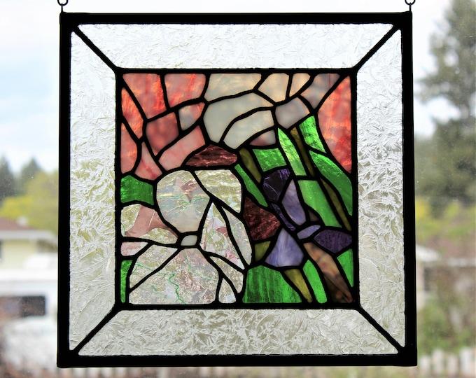 Stained Glass Panel Spring Summer Abstract Flower Home Window Decor Garden Suncatcher