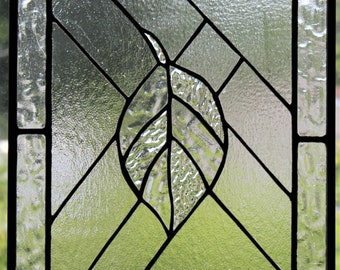 """The Leaf"" Stained Glass Leaf Panel Clear Textured Glass Home Window Decor"