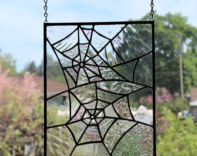 Stained Glass Panel Iridescent Double Spider Web Clear Textured Glass Home Decor Suncatcher