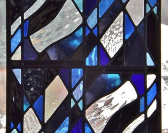 """Feeling Blue"" Stained Glass Panel Abstract Blues Black Geometric Design Clear Textured Glass Window Wall Hanging Home Decor"