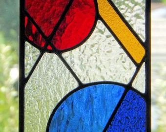 """Primary"" Stained Glass Geometric Abstract Panel Sun Catcher Primary Colors Blue Red Yellow Clear Glass  Home Office"