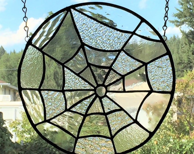 Spider Web Stained Glass Small Panel Clear Textured Glass Autumn Halloween Home Decor Sun Catcher