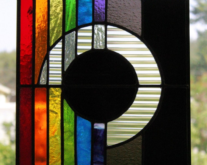 Stained Glass Panel Black Hole Glass Art Rainbow Home Office Decor