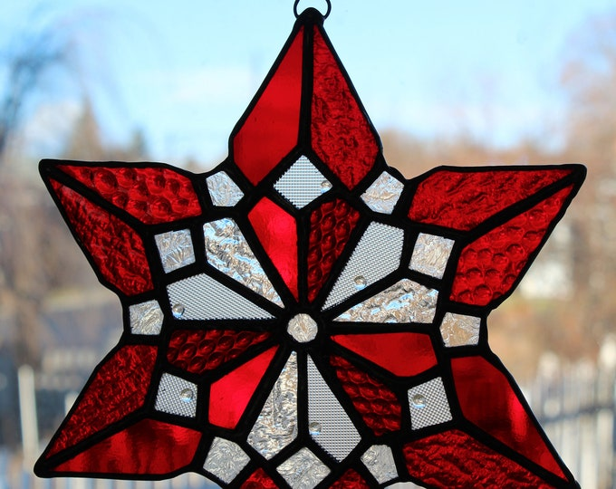 Stained Glass Hearts Snowflake Valentine Red Clear Art Glass Suncatcher With Love Home Decor
