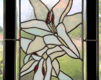 """White Lilies"" Stained Glass Panel White, Black, Red Textured Glass Home Window Decor"