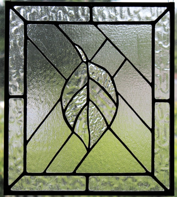 """""""The Leaf"""" Stained Glass Leaf Panel Clear Textured Glass Home Window Decor"""