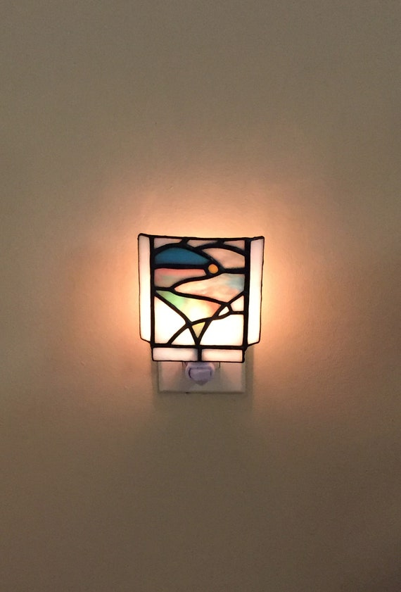Stained Glass Heart Sunrise Night Light Home Decor Lighting Valentine's Day