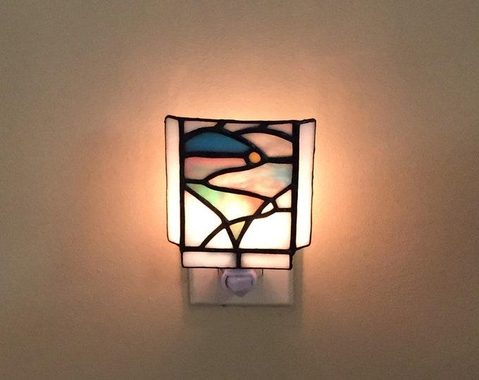 Stained Glass Heart Sunrise Night Light Home Decor Lighting