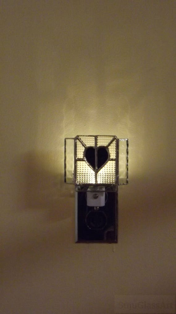 """Black Heart"" Stained Glass Night Light LED Night to Day Sensor Home Decor"