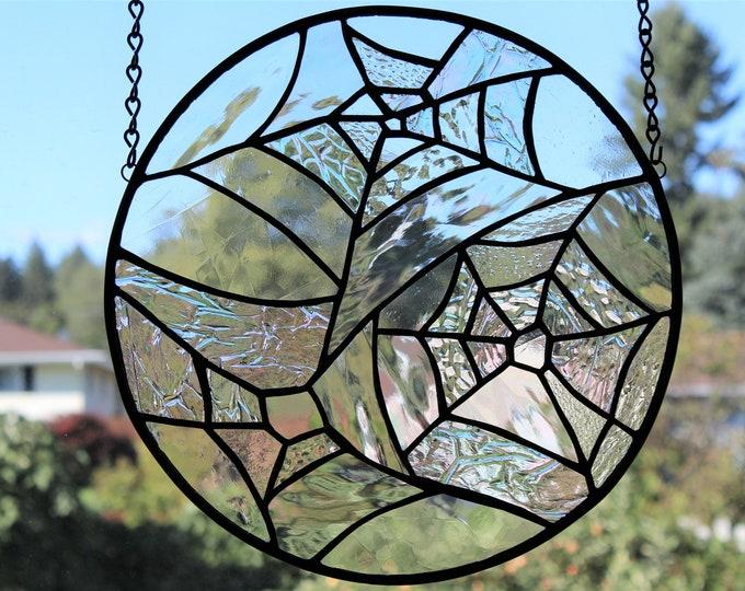 Stained Glass Panel Circular Three Web Spiderweb Textured Clear Glass Halloween Home Decor Iridescent Suncatcher