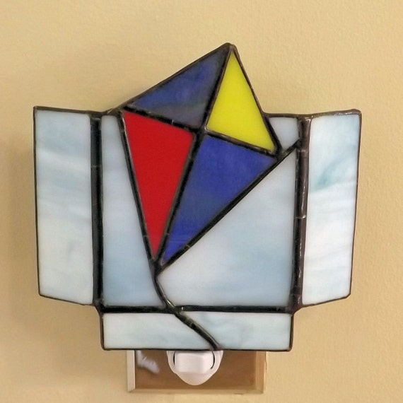 """""""Flying High"""" Night Light Stained Glass Kite Red Blue Yellow Home Decor Handmade"""