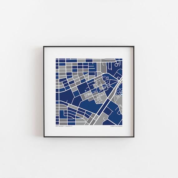 Rice University Map Print Etsy