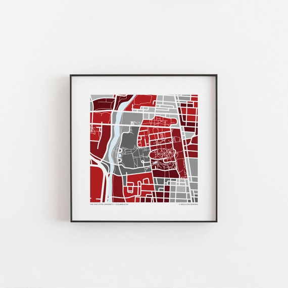 Ohio State University Map Print Etsy