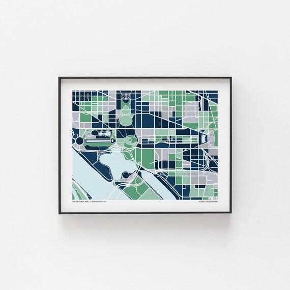 Washington DC National Mall Map Print | Etsy