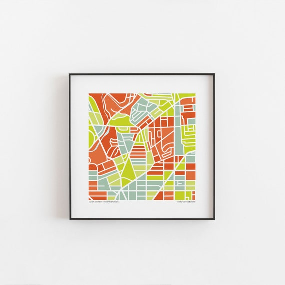 Adams Morgan Dc Map.Adams Morgan Dc Map Print Etsy