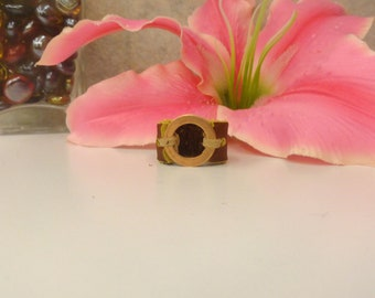 Leather Ring with Copper Accent
