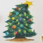 Christmas Tree Print with hand painted shimmery watercolor highlights on watercolor paper - original art by R. Jones