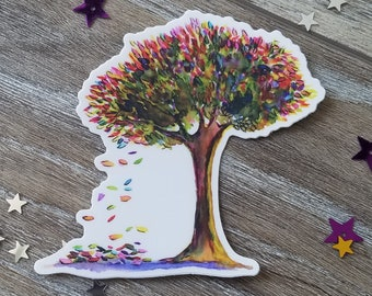 """Fall Weather Proof Vinyl Decal, 3""""  Falling Leaves Decal, Fall themed decal - Autumn Decal, Colorful Fall Tree"""