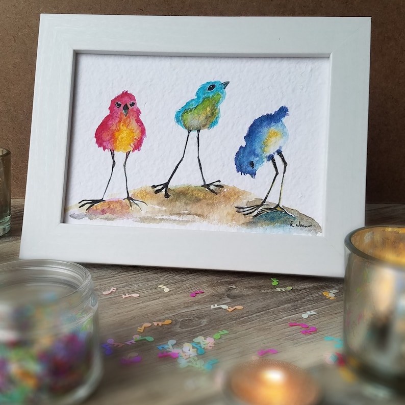 3 Little Birds 2   Watercolor Embellished Print  5x7  image 0