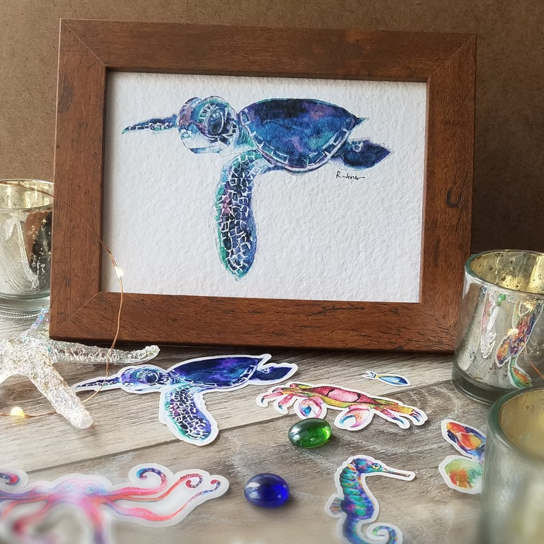 Baby Blue Sea Turtle Watercolor Embellished Print  5x7  image 0