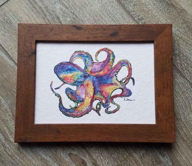 Rainbow Octopus   Watercolor Embellished Print  5x7  Brown Frame w Print