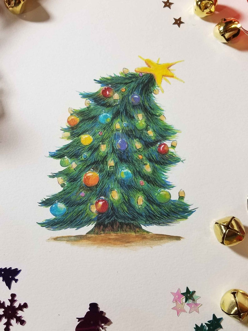 Christmas Tree Print with hand painted shimmery watercolor image 0