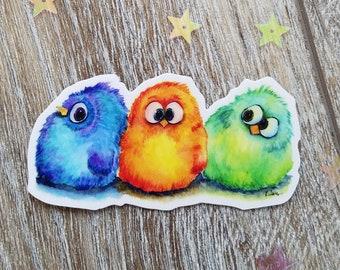 "3 Fluffy Birds weatherproof, waterproof vinyl Decal, Die Cut, Bird Decal, Cartoon Decal, Funny decal - Blue, Orange & Green Birds - 3"" decal"