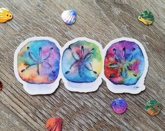 "Sand dollar Decal - weatherproof, waterproof vinyl sticker, sand dollar beachy decal - mermaid money decal sticker - 4.25"" decal"