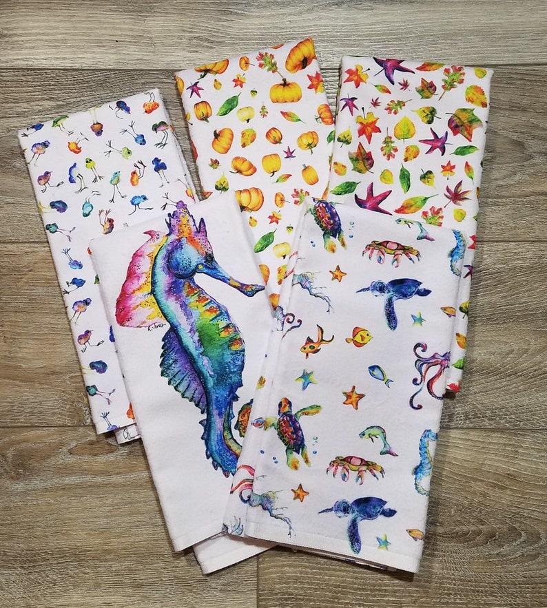 RJones Original Art  Vibrant Colored Hand /Tea Towels  image 0