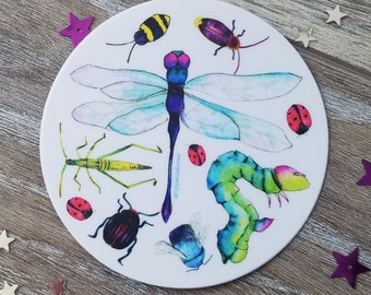 """Insect Weather Proof Vinyl Decal, 3"""" round, Collection of Bugs, Insect theme decal - Ladybug, Grasshopper, Caterpillar, Beetle, Dragonfly"""