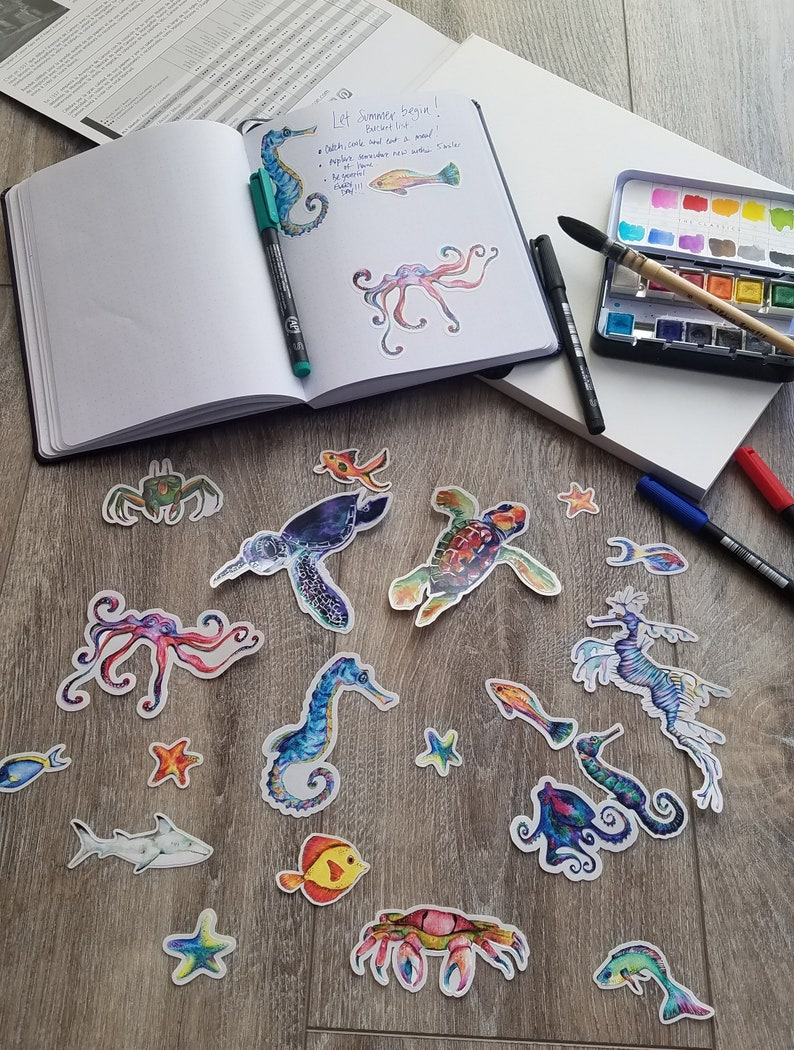 Die Cut Ocean Sticker set  20 Ocean themed stickers for your image 0