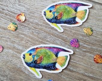 """Angel Fish Decal - weatherproof, waterproof vinyl sticker, fish beachy decal - Angel fish decal sticker - 3"""" decal"""