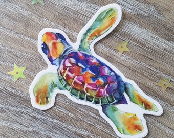 Turtle Weather Proof Vinyl Decal, Die Cut, Coastal Decal, Beach Decal, Ocean theme decal - Rainbow Sea Turtle