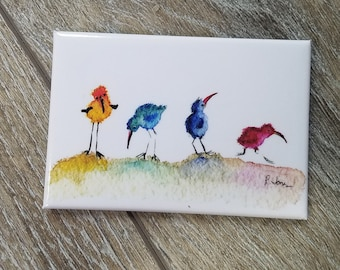 Simple Sandpipers - Magnet 2x3 Watercolor Art - Sandpipers colorful coastal art for kids and adults.