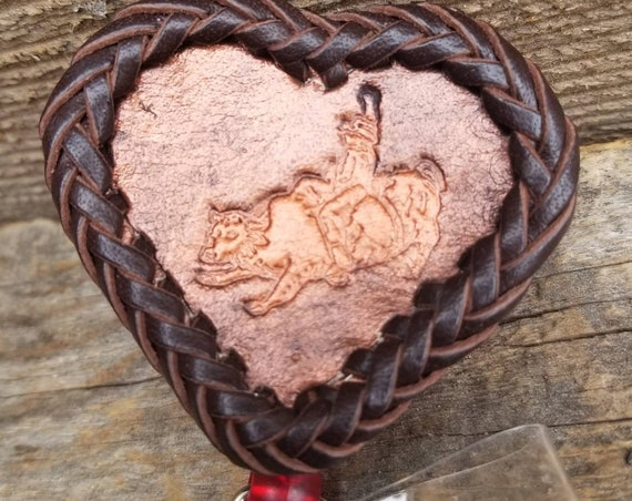 Laced Leather ID Reel badge with Bucking Bull Rider
