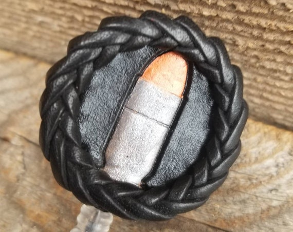 Small Laced Leather ID Reel badge with bullet