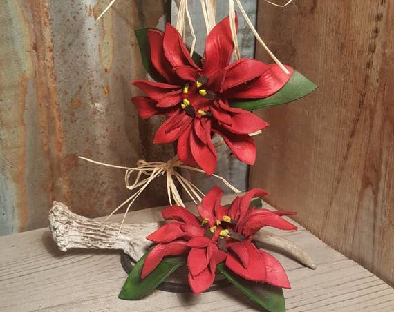 Leather Christmas Poinsettia Ornament