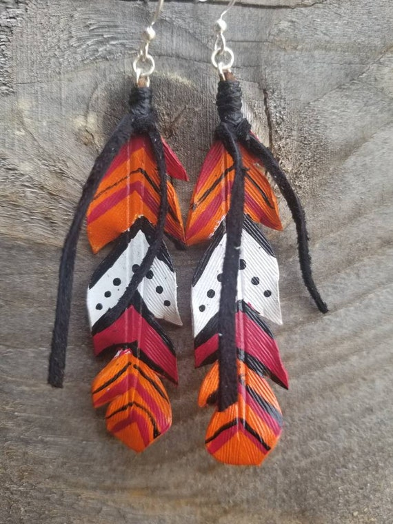 Orange Serape Leather Feather earrings