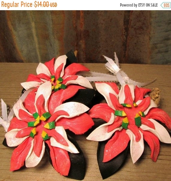 Pink and White Leather Poinsettia Christmas Ornament