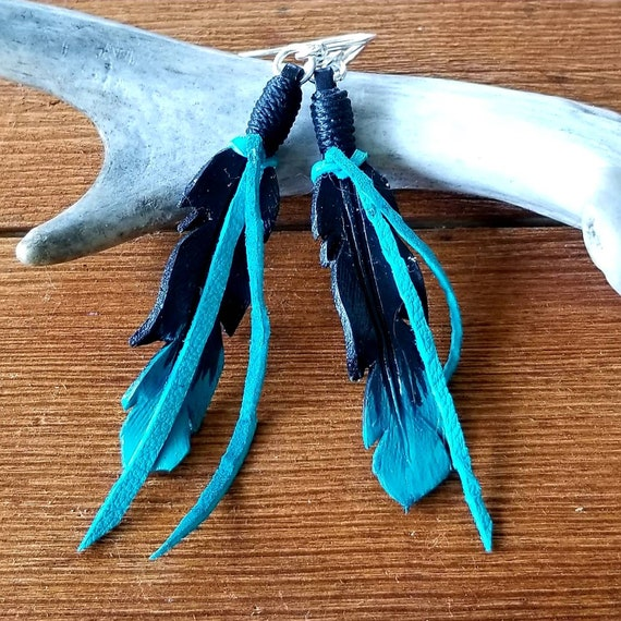 Medium Black to Turquoise Ombre Leather Feather Earrings