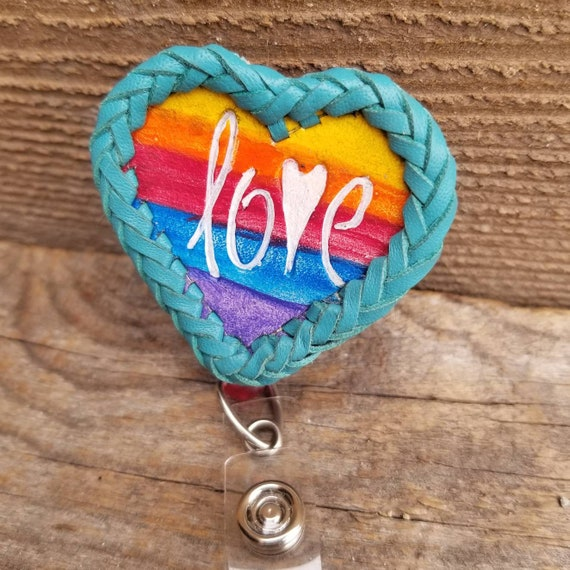 Laced Leather ID Reel badge with Rainbow Heart