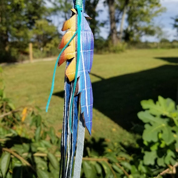 Serape Feather Clip with Turquoise Leather Tassel