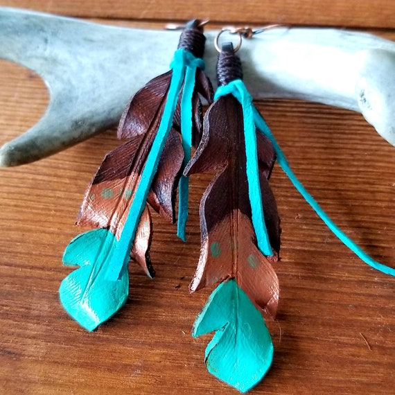 Large Leather Feather Earrings with Copper and Turquoise Accents