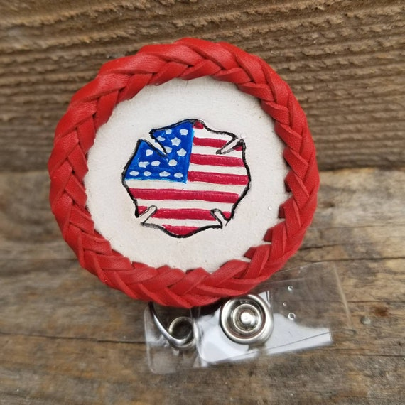 Laced Leather ID Reel badge with Patriotic Maltese Cross