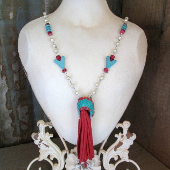 Red and Turquoise Indian Head Dress Lariat Style Necklace