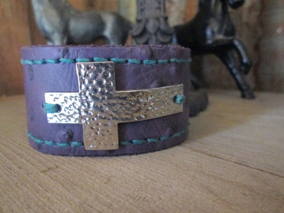 Purple Leather Cuff with Cross