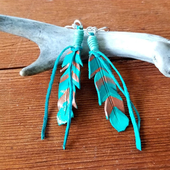 Medium Turquoise and Copper Chevron Striped Leather Feather Earrings
