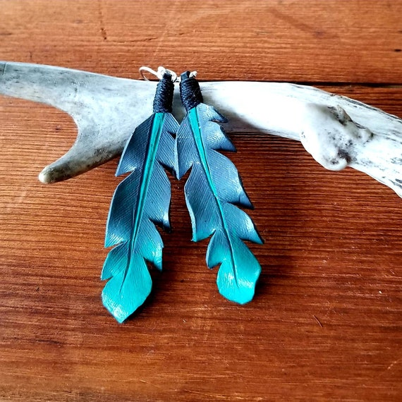 Large Grey to Turquoise Ombre Leather Feather Earrings