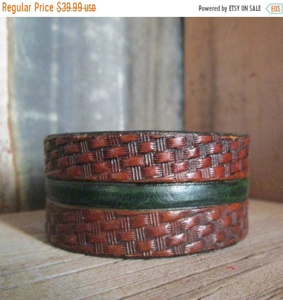 ON SALE Green Line Leather Cuff, Tooled Leather Cuff, Leather Cuff