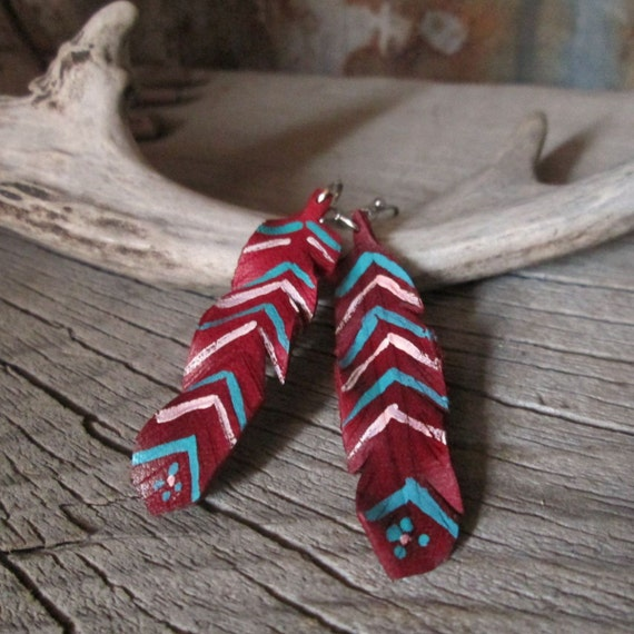 Leather Feather Earrings, Red Earrings, Feather Earrings, Leather Earring, Earrings